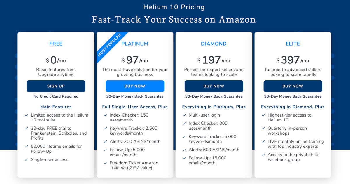 helium 10 pricing page