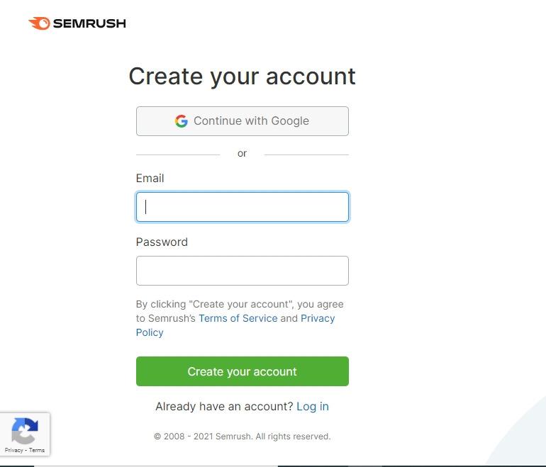 create account for semrush